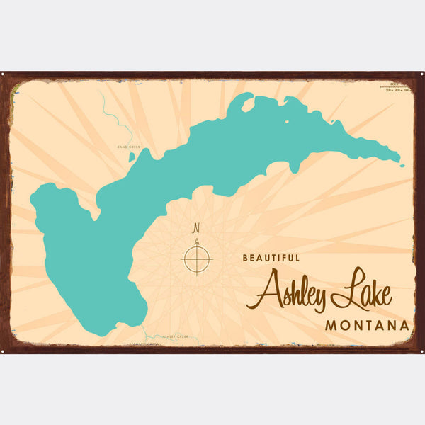 Ashley Lake Montana, Rustic Metal Sign Map Art