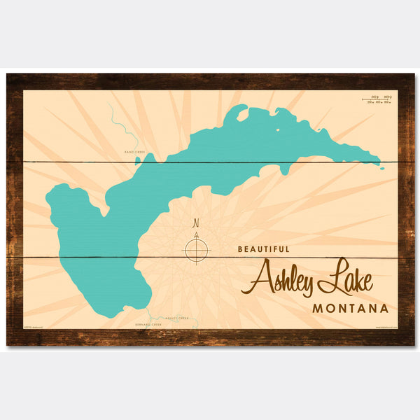 Ashley Lake Montana, Rustic Wood Sign Map Art