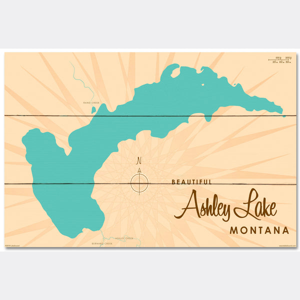 Ashley Lake Montana, Wood Sign Map Art