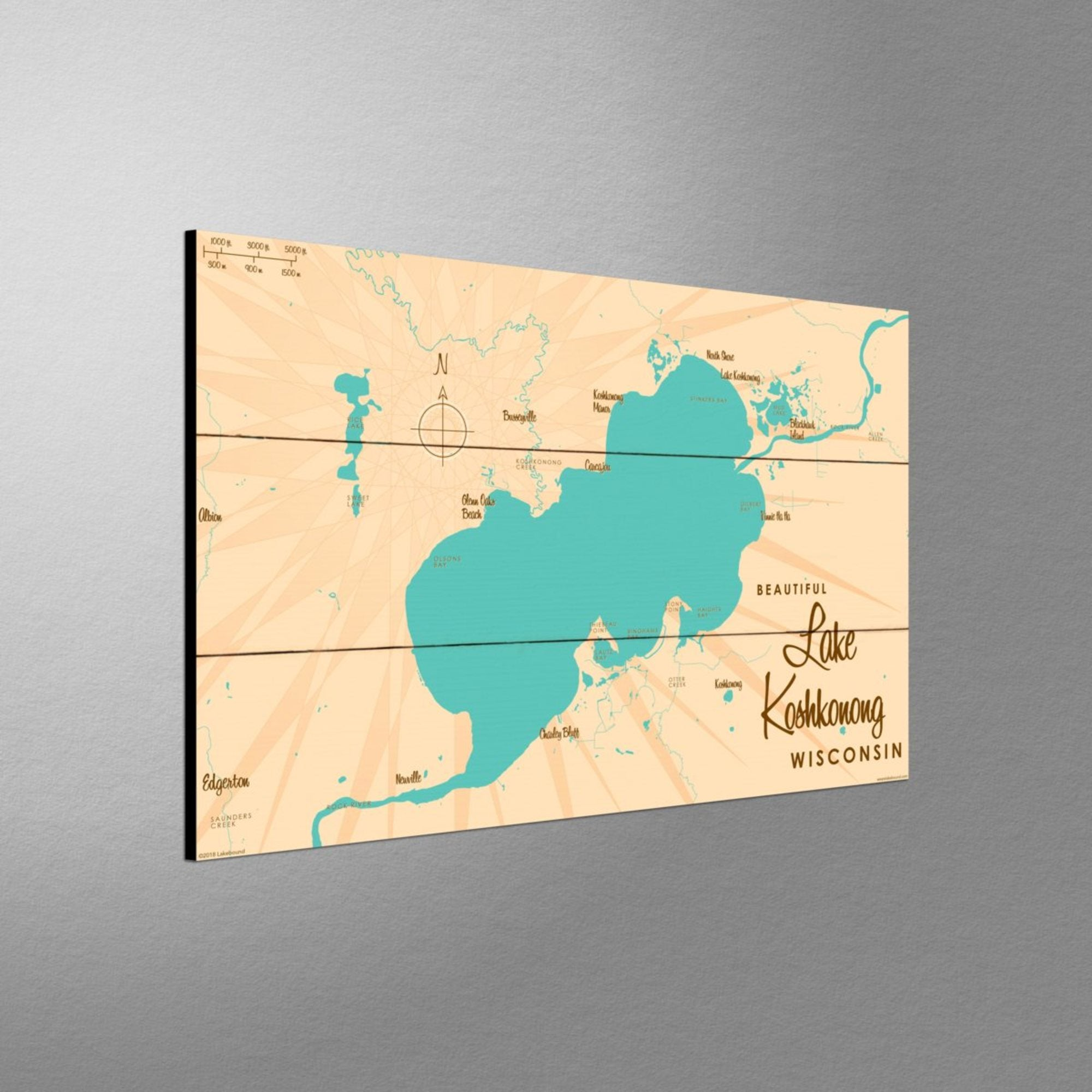 Lake Koshkonong Wisconsin, Wood Sign Map Art