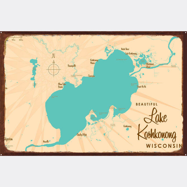 Lake Koshkonong Wisconsin, Rustic Metal Sign Map Art