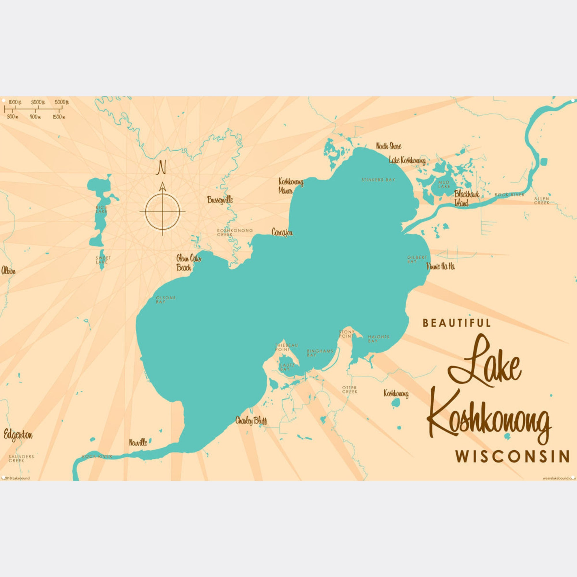 Lake Koshkonong Wisconsin, Metal Sign Map Art
