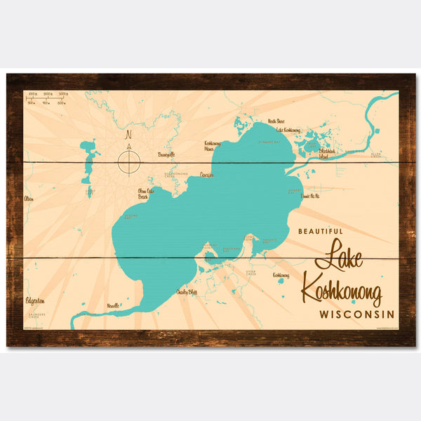 Lake Koshkonong Wisconsin, Rustic Wood Sign Map Art