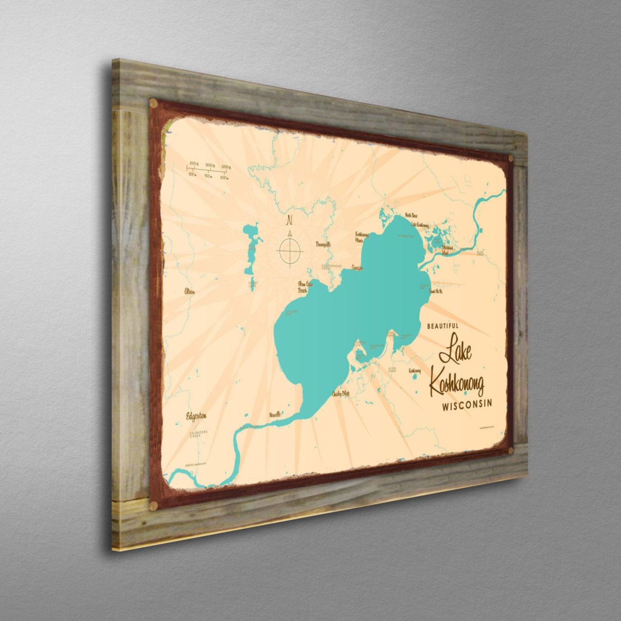 Lake Koshkonong Wisconsin, Wood-Mounted Rustic Metal Sign Map Art