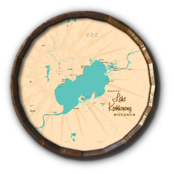 Lake Koshkonong Wisconsin, Barrel End Map Art