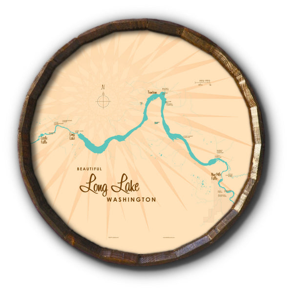 Long Lake Washington, Barrel End Map Art
