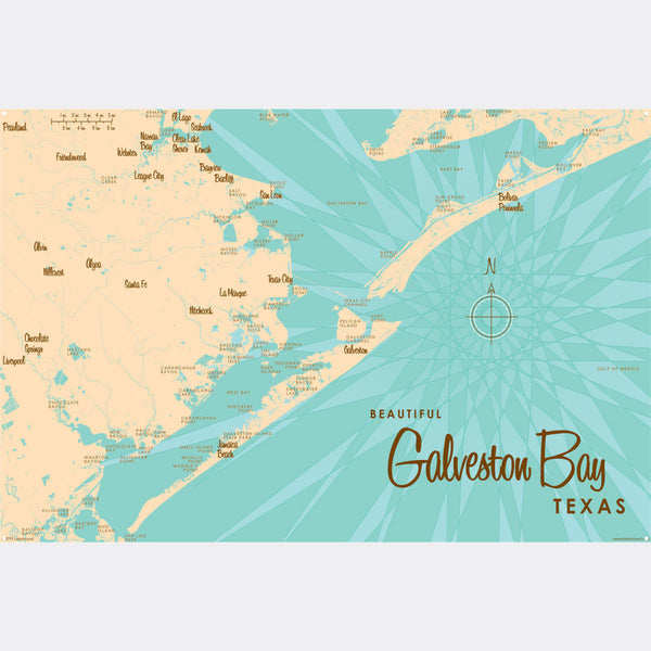 Galveston Bay Texas, Metal Sign Map Art
