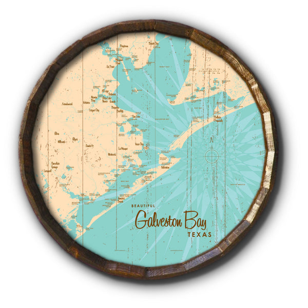 Galveston Bay Texas, Rustic Barrel End Map Art