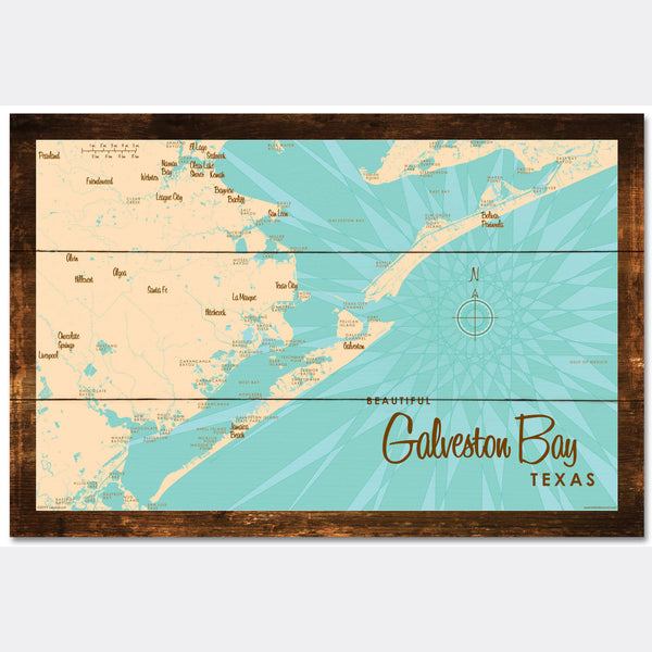 Galveston Bay Texas, Rustic Wood Sign Map Art