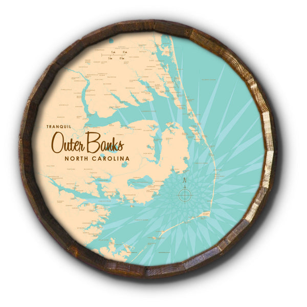 Outer Banks North Carolina, Barrel End Map Art
