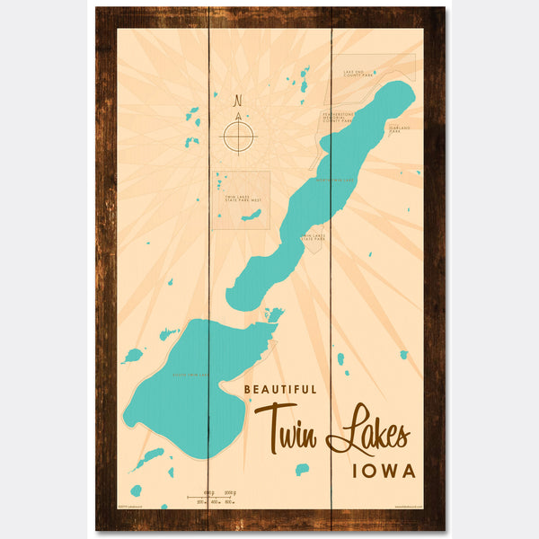 Twin Lakes Iowa, Rustic Wood Sign Map Art