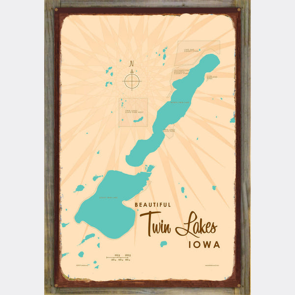 Twin Lakes Iowa, Wood-Mounted Rustic Metal Sign Map Art