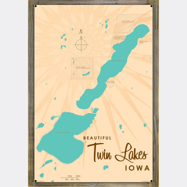 Twin Lakes Iowa, Wood-Mounted Metal Sign Map Art