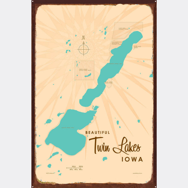Twin Lakes Iowa, Rustic Metal Sign Map Art