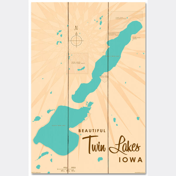 Twin Lakes Iowa, Wood Sign Map Art