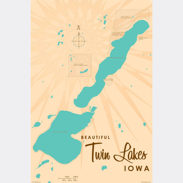 Twin Lakes Iowa, Metal Sign Map Art