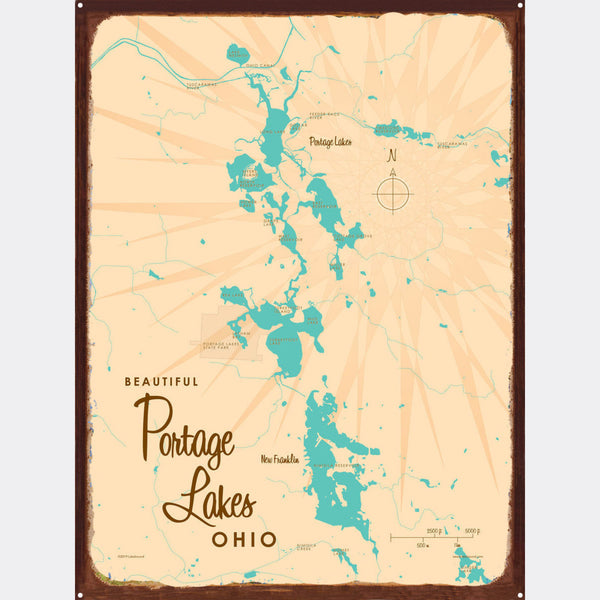 Portage Lakes Ohio, Rustic Metal Sign Map Art