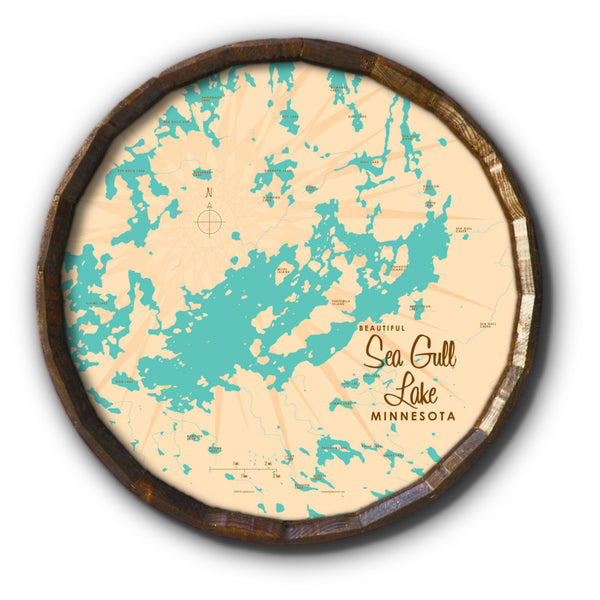 Sea Gull Lake Minnesota, Barrel End Map Art