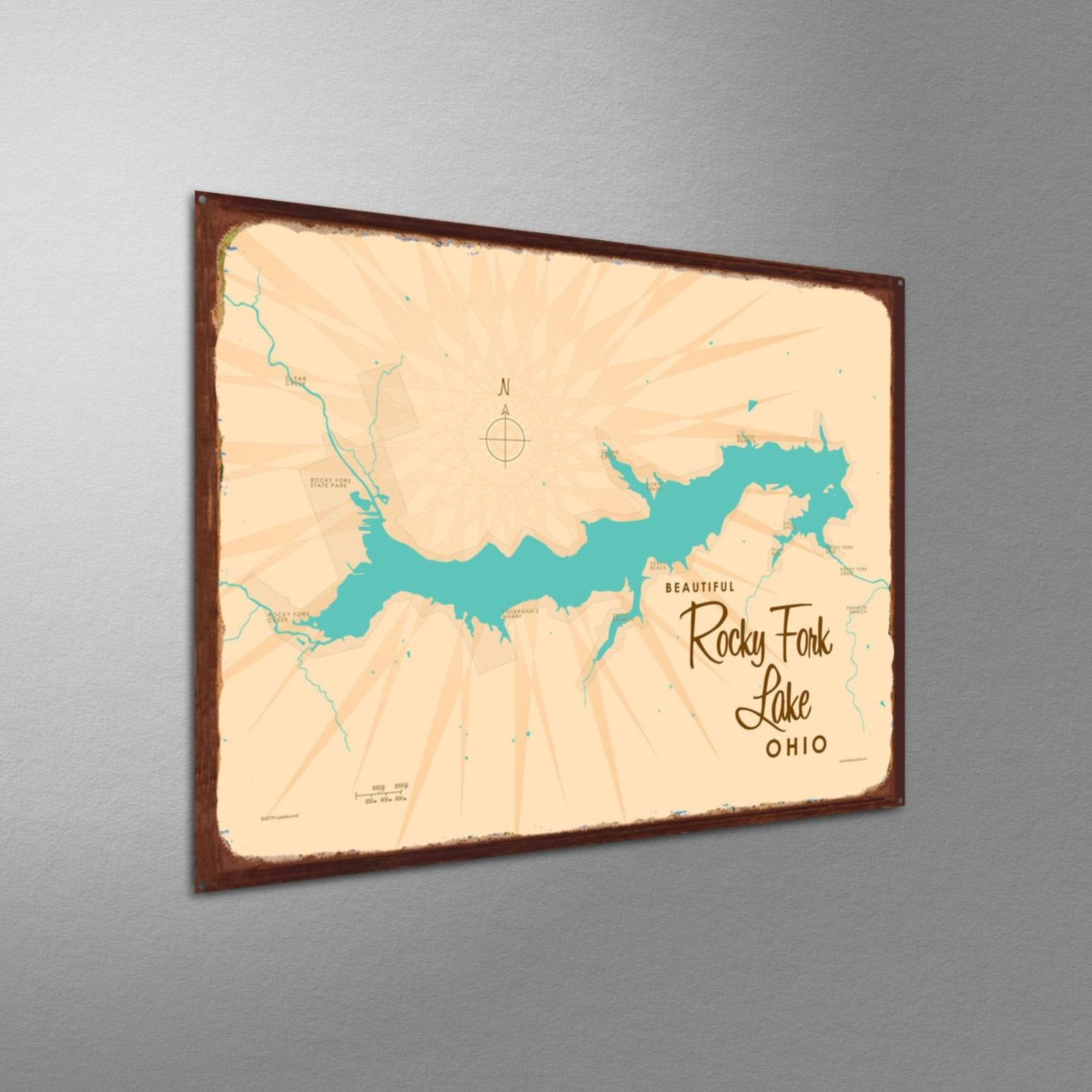 Rocky Fork Lake Ohio, Rustic Metal Sign Map Art