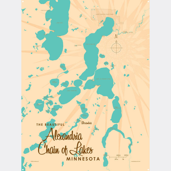 Alexandria Chain of Lakes Minnesota, Metal Sign Map Art