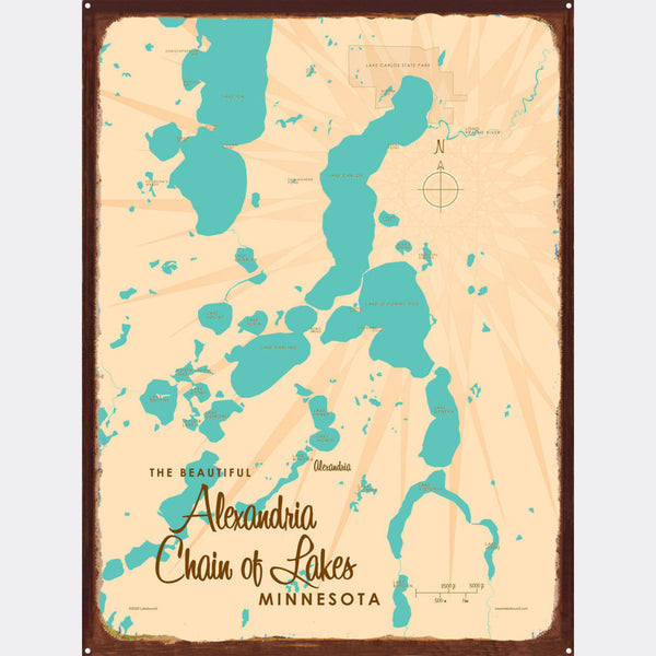 Alexandria Chain of Lakes Minnesota, Rustic Metal Sign Map Art