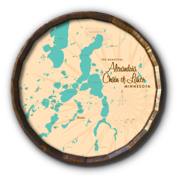 Alexandria Chain of Lakes Minnesota, Barrel End Map Art