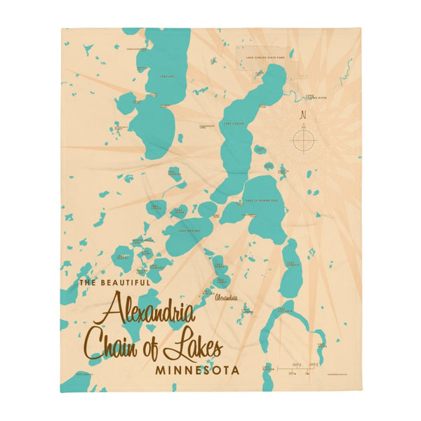 Alexandria Chain of Lakes Minnesota Throw Blanket