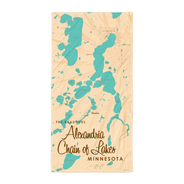 Alexandria Chain of Lakes Minnesota Beach Towel