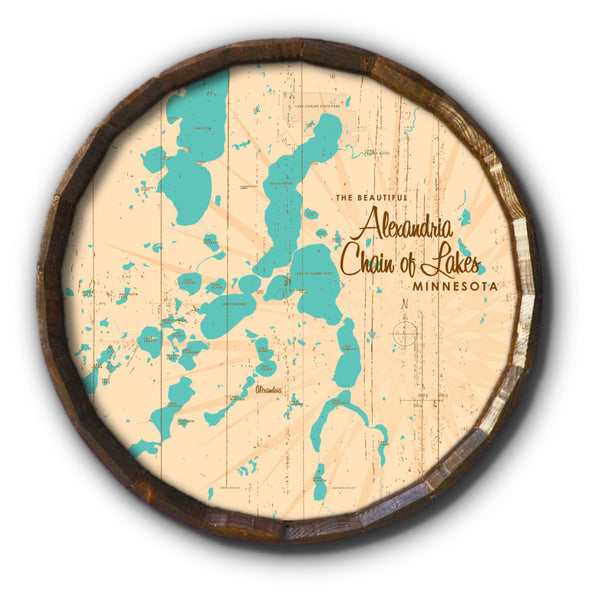 Alexandria Chain of Lakes Minnesota, Rustic Barrel End Map Art
