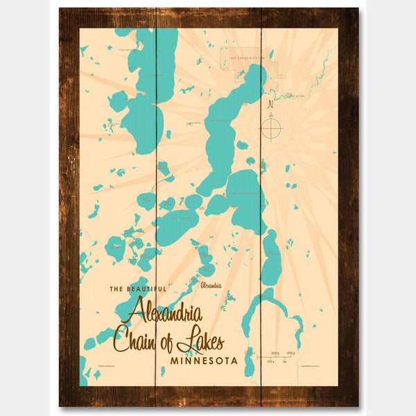 Alexandria Chain of Lakes Minnesota, Rustic Wood Sign Map Art