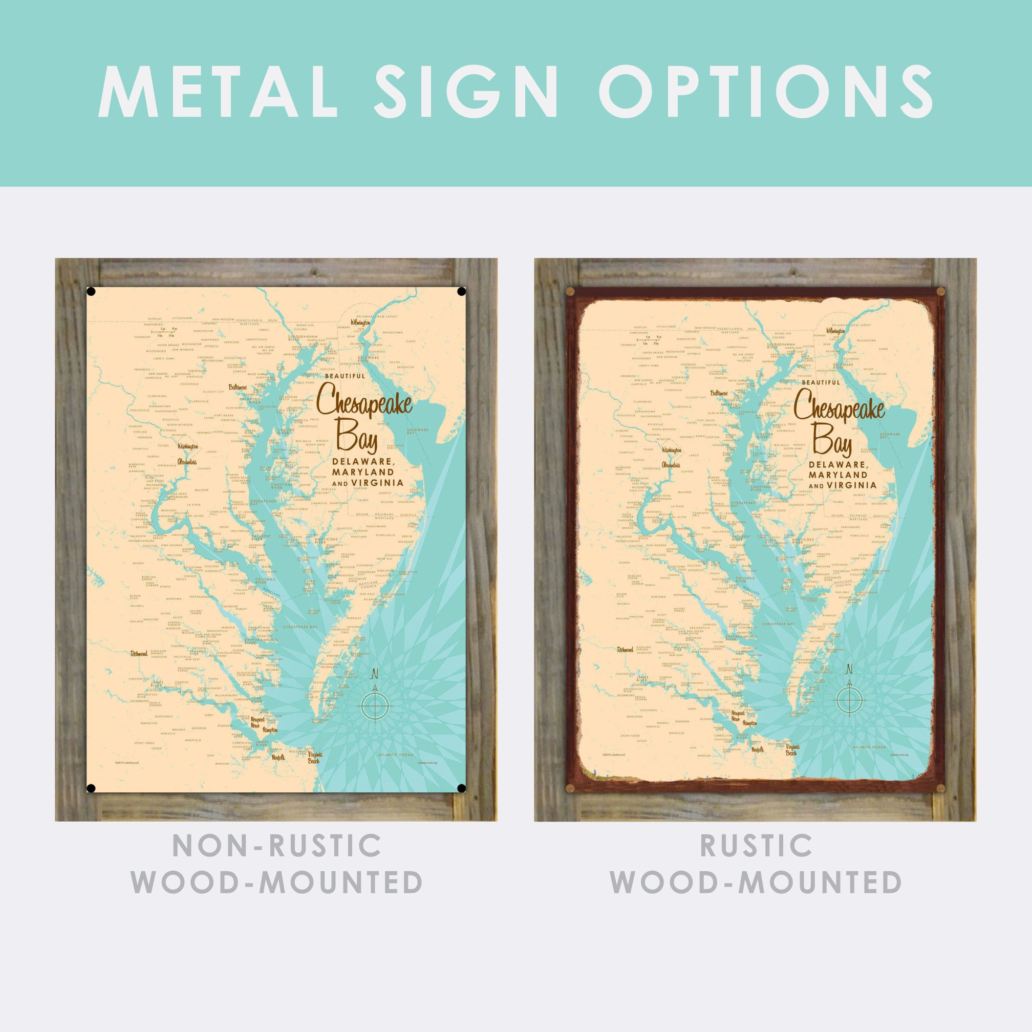 Custom Order Your Lake on a Mounted Metal Sign Map Art