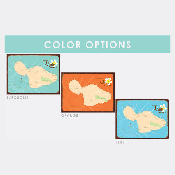 Maui, Rustic Metal Sign Map Art