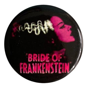 Pink Bride of Frankenstein Button