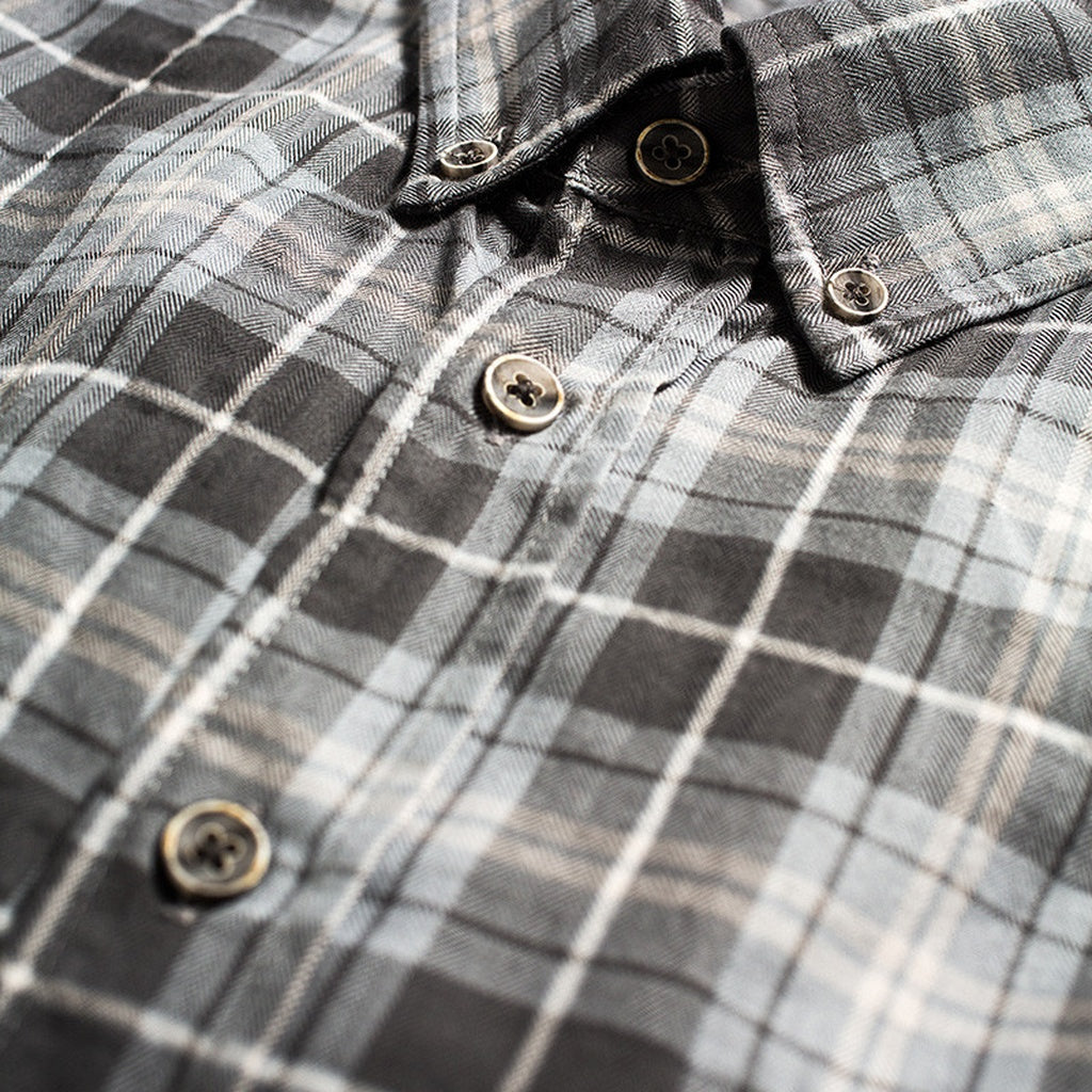 All Year Plaid Premium Grey Button Down