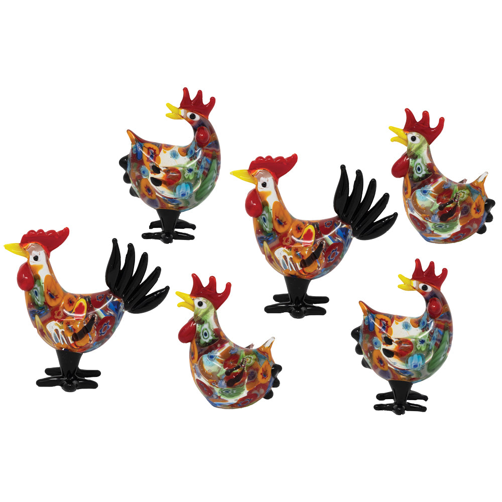 Millefiori Roosters & Hens: 6pc