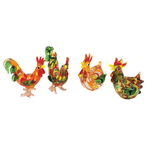 Striped Roosters & Hens: 4pc