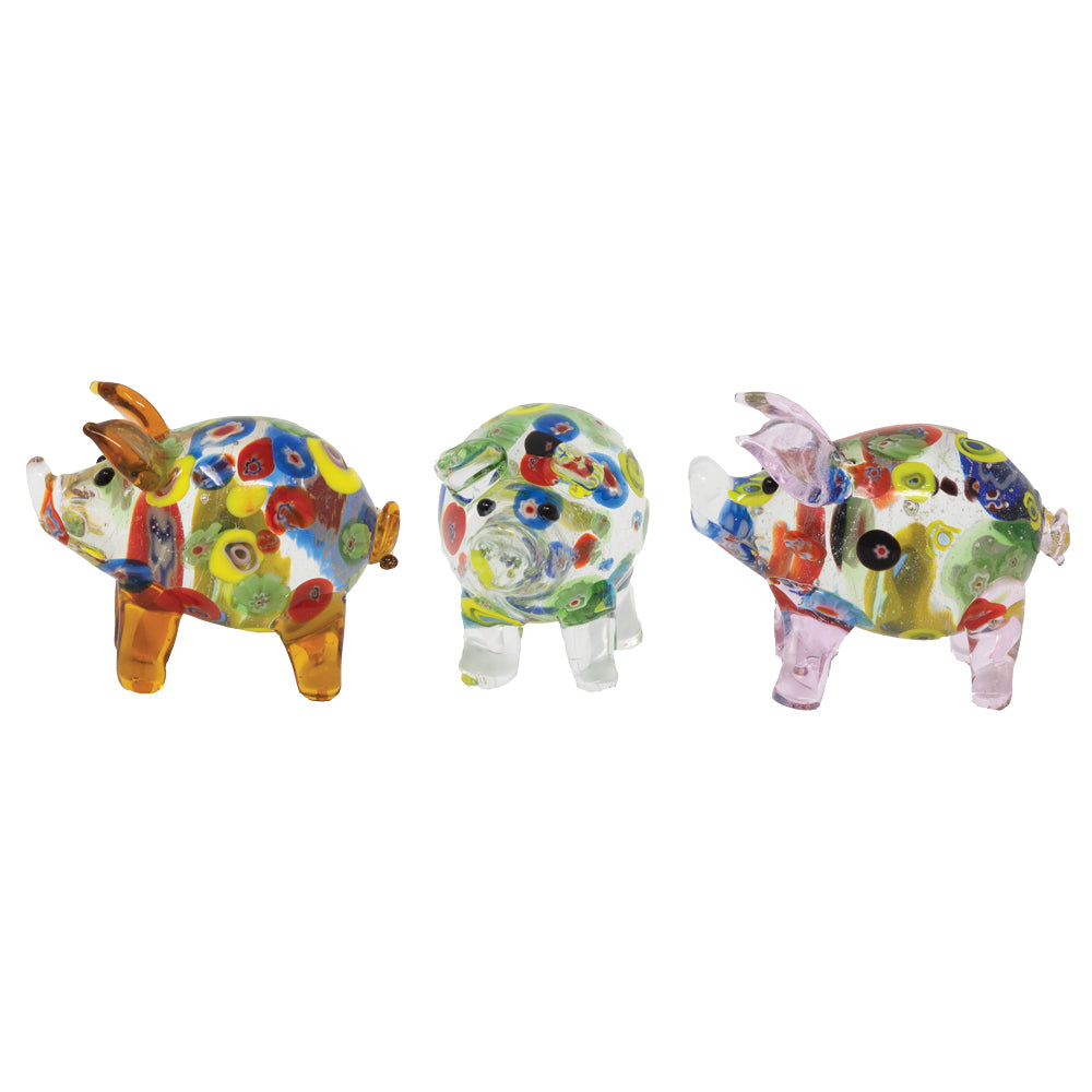 Millefiori Pigs: 3pc