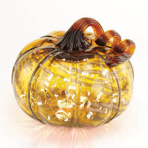 Amber Gold Streak Pumpkin w/ White String LED Lights