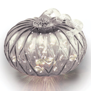 Gray Facet Large Pumpkin w/ White String LEDs