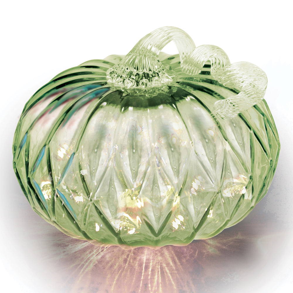 Green Facet Large Pumpkin w/ White String LED Lights