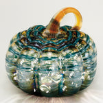 Teal Stripe Pumpkin w/ White LED