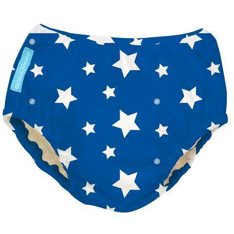 Charlie Banana Reusable Swim Diaper White Stars Blue Swim Diapers hippholle.com M