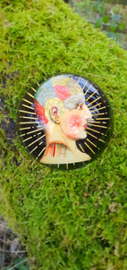 Phrenology head design decorative glass dome paperweight ornament by Temerity Jones