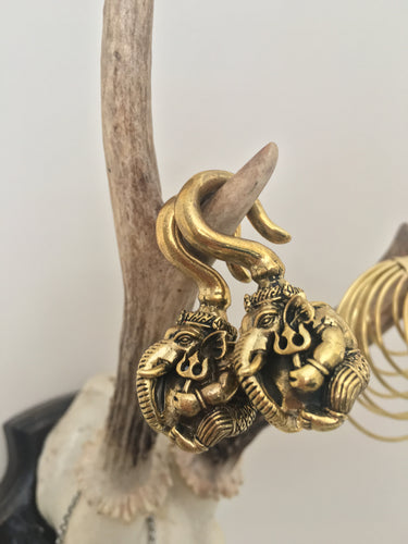 Brass Ganesha Hindu elephant God ear stretcher weight. 3D Ganesh figure, can be worn in any stretched ear 4mm or above
