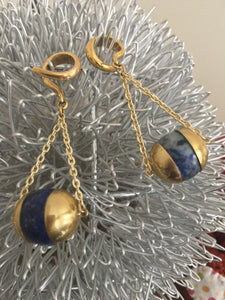 3mm Brass ear stretching spiral weight with lapis lazuli suspended ball on chains