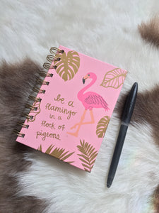 """Be a flamingo in a flock of pigeons"" cute pastel pink and gold leaf A6 ring bound notebook"
