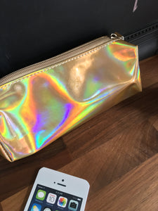 "Gold metallic laser holographic ""oil slick"" shimmering unicorn make up bag/pencil case."