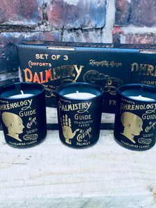 Phrenology & Palmistry triple gift set of soy wax scented candles in black and gold glass jars.