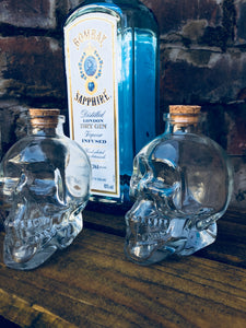 Clare skull bottle jar, mini decanter or candle holder, herb jar, min spirits decanter, etc.