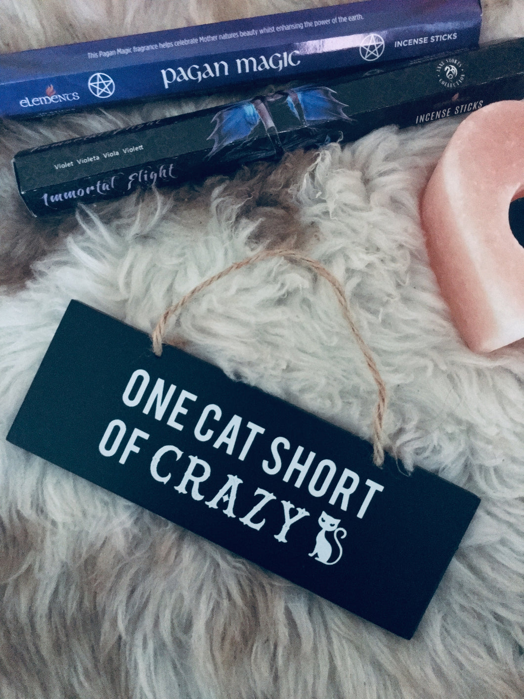 One cat short of crazy black Goth wooden rectangular wall/door sign with white slogan. Perfect for any crazy cat lady!